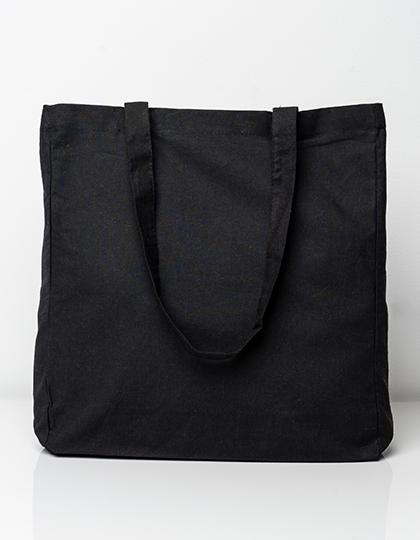 Cotton bag with sidefold, long handles
